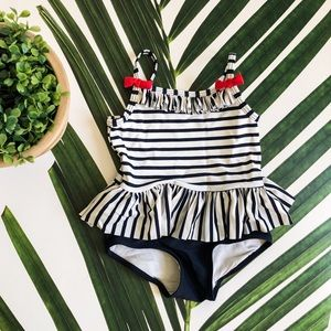 H&M Striped Red Bow Baby Girl Swimsuit 6-12m NWOT